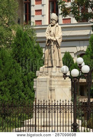 Bucharest, Romania - August 23, 2018: The Spatharios Mihai Cantacuzino Statue, First Statue Built In