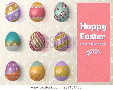 Happy Easter 2019. Vector Illustration. Set Of Easter Eggs With Different Tracery On An Isolated Bac