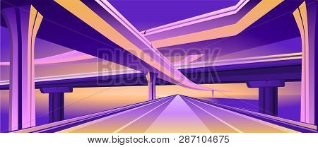 Vector Horizontal Image Of An Empty Hearse City Overpass Viaduct Bridge In Orange Purple Colors.