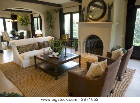 Luxury home living room with contemporary decor. poster