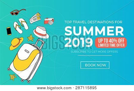 Summer Travel Banner Template. Vacation Discount Poster For Travel Agency Or Promotion. Travel Sale