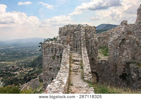 Ruined Walls Of The Ancient Mystra In The Peloponnese. Greece