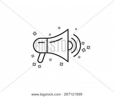 Megaphone Line Icon. Advertisement Device Symbol. Communication Sign. Geometric Shapes. Random Cross