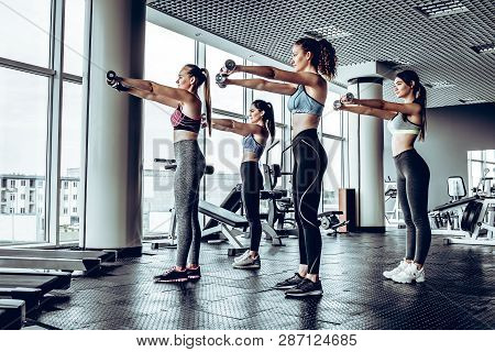 Group Of Happy Women With Dumbbells Flexing Muscles In Gym. Fitness, Sport, Training And Lifestyle C