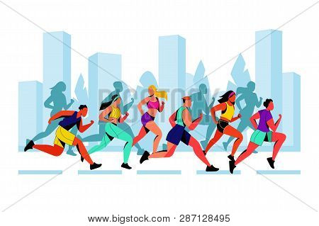 City Marathon Vector Flat Illustration. Running Colorful People Against City Silhouette Background.