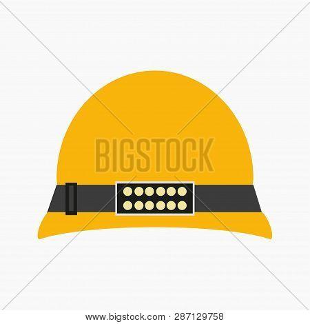 Miners Helmet With A Lamp. Helmet. White Background. Vector Illustration. Eps 10.