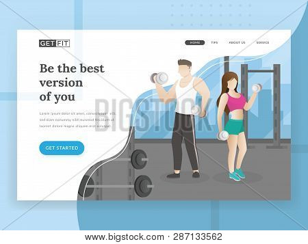 Landing Page Template Of Fitness. Landing Page Concepts For Fitness Sport Website. People Work Out I