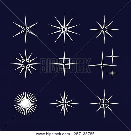 Set Of Sparkle Star, Sparkles Star Isolated Vector. Sparkle Light. Sparkling Stars. Sparkles Black S