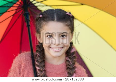 Colorful Accessory For Cheerful Mood. Girl Child Long Hair Walking With Umbrella. Stay Positive And