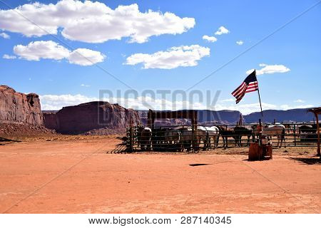 Horses In Rancho In Monument Valley In Utah