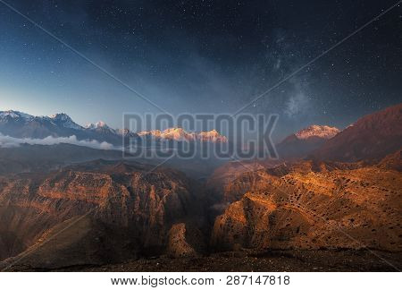 Beautiful Panoramic View Of The Starry Sky Above The Canyon In The Upper Mustang, Nepal