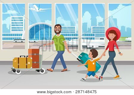 Traveling With Family By Airplane Cartoon Vector Concept With Happy Parents Carrying Trolley With Ba