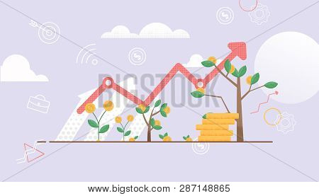 Arrow Shows Up. Tree Symbol Constant Growth. Cash Investment Are Growing. Deposit Bring Interest. Ve