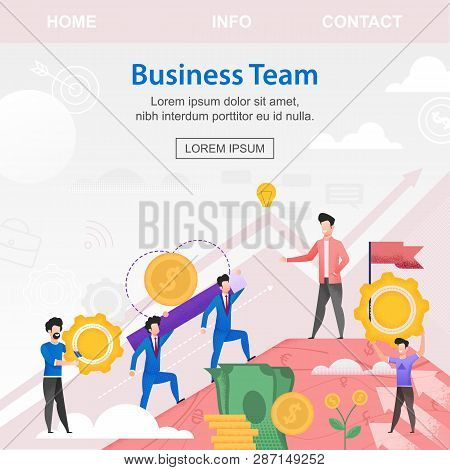 Square Flat Banner Business Team Investors Young. Vector Illustration Against Sky And White Sun. Ove