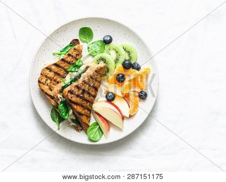 Tuna, Spinach, Mozzarella Hot Toast And Fresh Fruit - Delicious Healthy Breakfast, Brunch, Snack On
