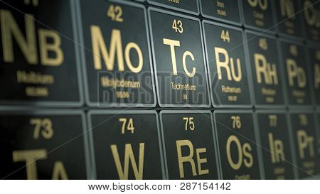 Close Up View Of A Periodic Table Of Elements (3d Render)