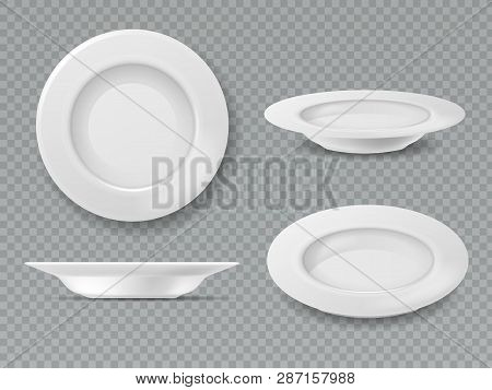 Food White Plate. Empty Plate Top View Dish Bowl Side View Kitchen Meal Breakfast Ceramic Cooking Po