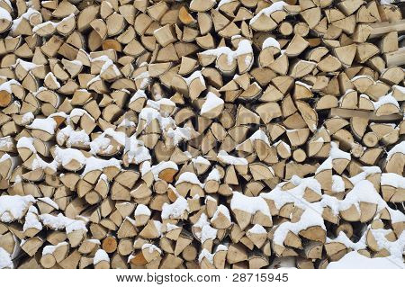 Background. A Woodpile Of Dry Fire Wood In The Winter.