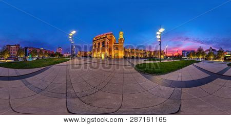 Wroclaw, Poland - September, 2018: Full Seamless 360 Degrees Angle View Evening Panorama On Square P