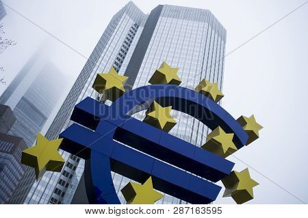 Frankfurt Am Main, Germany - December 28 2018: European Central Bank On A Foggy Day In Willy Brandt