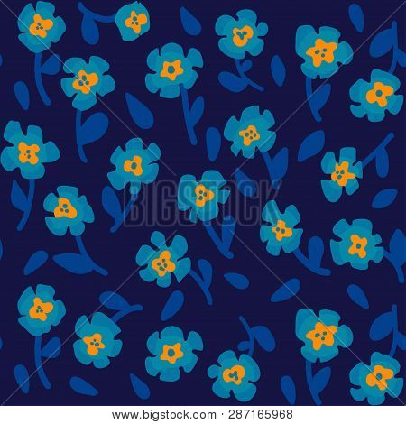 Simple Pattern With Small Scale Blooming Flowers. Liberty Style Pattern. Floral Seamless Background