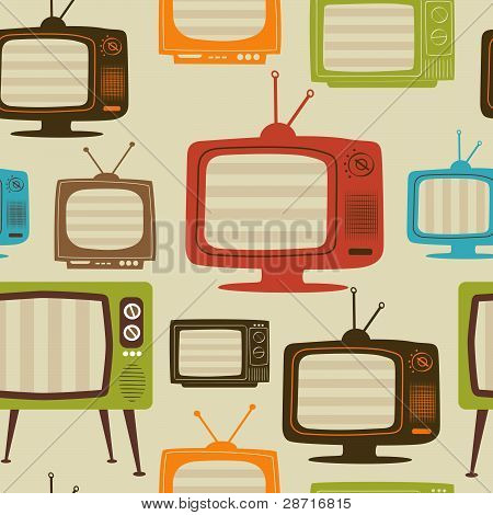 Tv retro seamless pattern. Vector illustration.