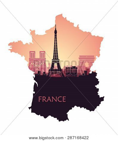 Stylized Landscape Of Paris With Eiffel Tower, Arc De Triomphe And Notre Dame Cathedral In The Form