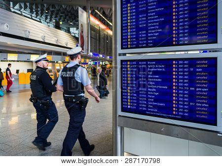 Frankfurt Am Main, Hessen, Germany November 29, 2016: Flight Information Board Displaying Delayed An