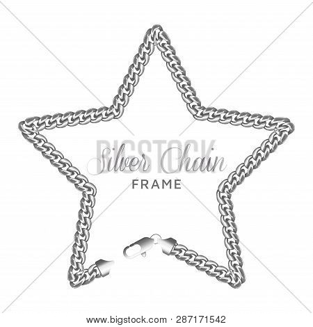 Silver Chain Star Border Frame. Wreath Starry Shape With A Lobster Claw Clasp Lock. Jewelry Accessor