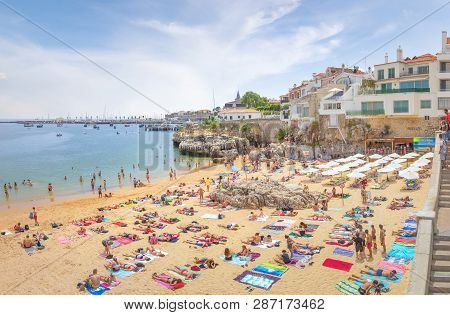 Cascais, Portugal - June 22, 2018: Cascais Near Lisbon, Seaside Town. Panoramic View With Port And B
