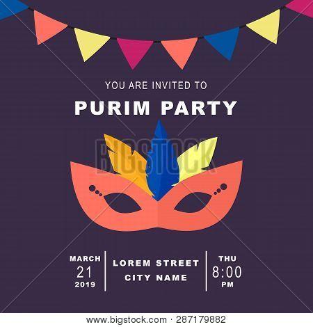 Happy Purim, Jewish Celebration Party Invitation Concept. Purim Masquerade Background With Mask, Gar