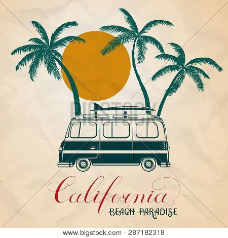 Summer Vector Illustration Of Retro Bus And Surf Bord With Palm Trees
