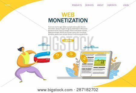Web monetization vector website landing page design template poster
