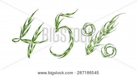 45% Text, Forty-five Percent From Green Leaves, Green Percent,isolated On White Background. Waterco