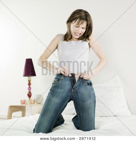 Beautiful Caucasian Woman In Bed