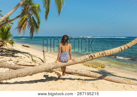 Woman Sitting On Palm Tree On The Beach. Healthy People Lifestyle. Woman Relaxing On The Beach. .vac