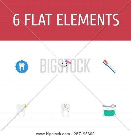 Set Of Enamel Icons Flat Style Symbols With Caries, Tooth, Orthodontist And Other Icons For Your Web
