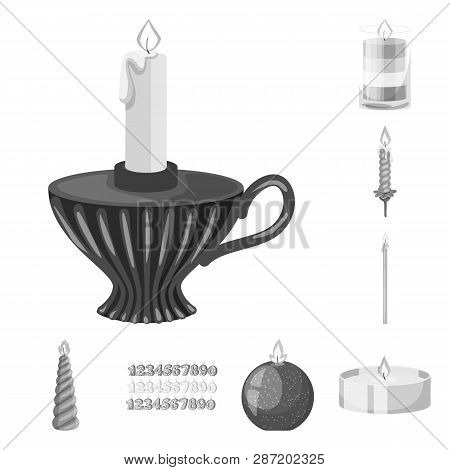 Isolated Object Of Paraffin And Fire  Icon. Collection Of Paraffin And Decoration    Vector Icon For