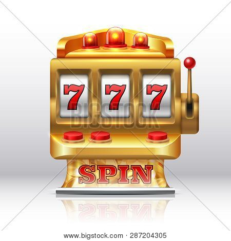 777 Jackpot Slot Machine. Golden Casino Spin, Isolated Gambling Prize Machine. Vector Realistic 3d G