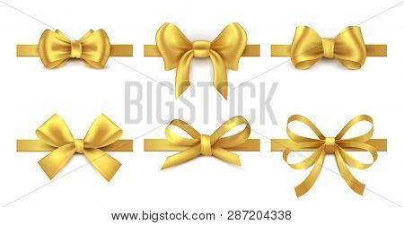 Golden Ribbon Bow. Holiday Gift Decoration, Valentine Present Tape Knot, Shiny Sale Ribbons Collecti