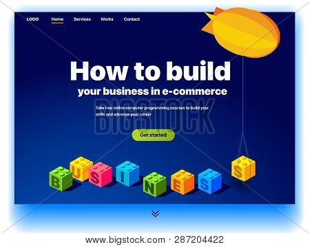 Website Providing The Service Of How To Build Your Business In E-commerce. Concept Of Landing Page F