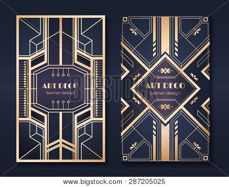 Art Deco Banners. 1920s Party Invitation Flyer, Fancy Golden Ornamental Design, Vintage Frames And P