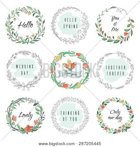 Floral Circle Doodle Frames. Circular Laurel Wreath, Flourish Monogram Borders, Hand Drawn Botanical