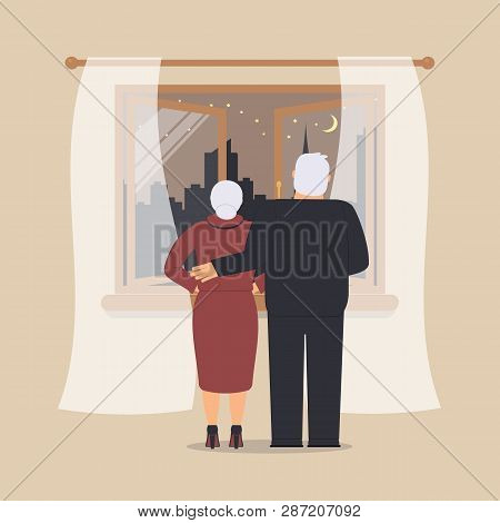 Open Wooden Window With Tulle As Design Element For Interior Of Room On Cream Background. Night City