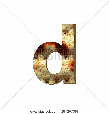English Lowercase Letter D With Matza Texture. Font For Passover. Vector Illustration On Isolated Ba