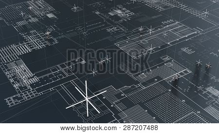 Abstract Technological Background With White Lines. 3d Illustration