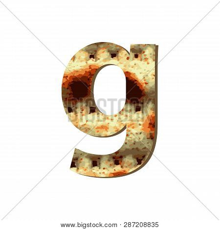 English Lowercase Letter G With Matza Texture. Font For Passover. Vector Illustration On Isolated Ba