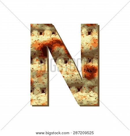 Capital English Letter N With Matza Texture. Font For Passover. Vector Illustration On Isolated Back