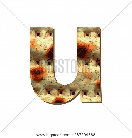 Capital English Letter U With Matza Texture. Font For Passover. Vector Illustration On Isolated Back