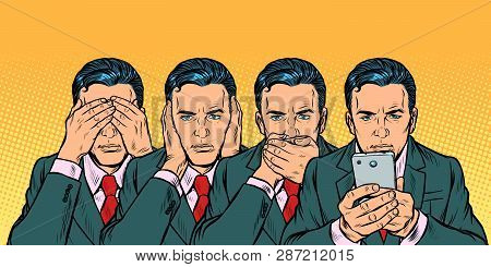 Not see say look, smartphone communication concept. Pop art retro vector illustration vintage kitsch 50s 60s poster